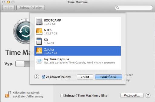 šifrovanie Time Machine