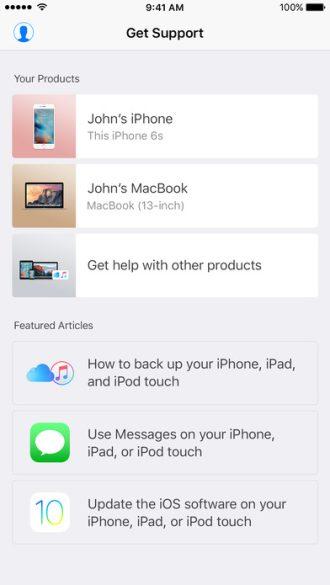 Apple support aplikácia