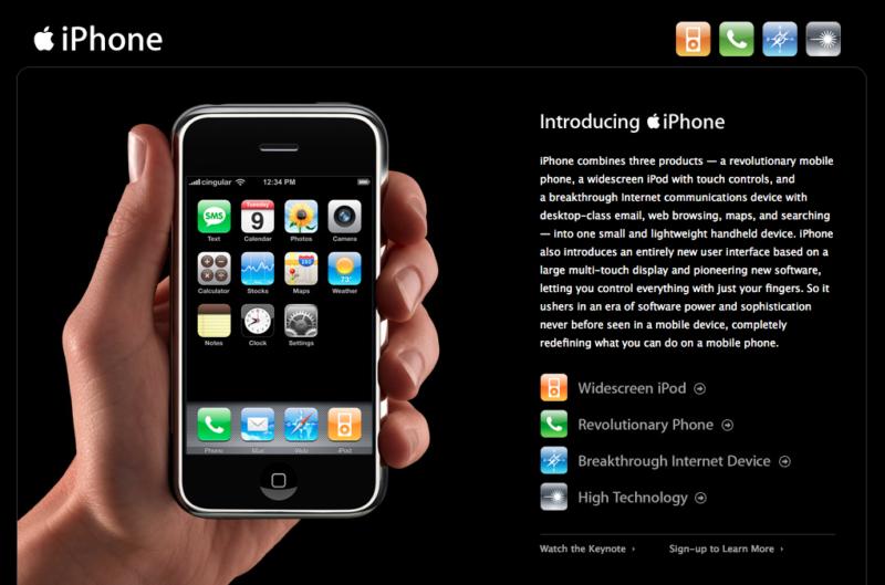 Stránka Apple po predstavení prvého iPhonu