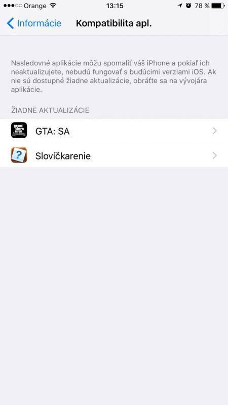 Informácia o nekompatibilných aplikáciách