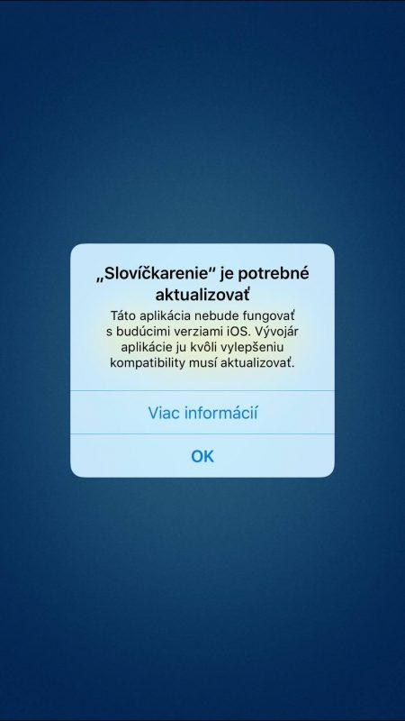 Upozornenie o nekompatibilite pri spustení aplikácie